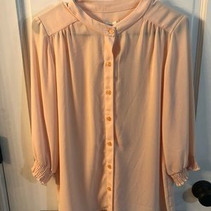 CHICO'S tawny top pillowy peach top 3/4 sleeves 0
